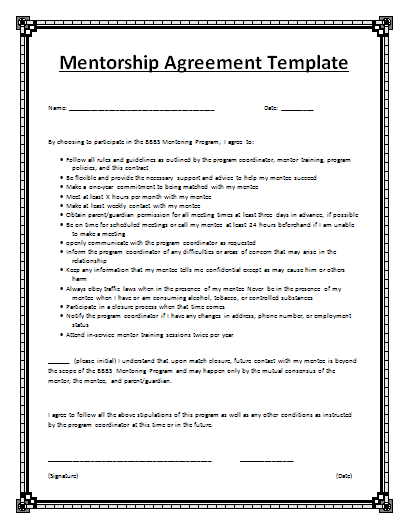 Mentorship Agreement Template Free Agreement Templates